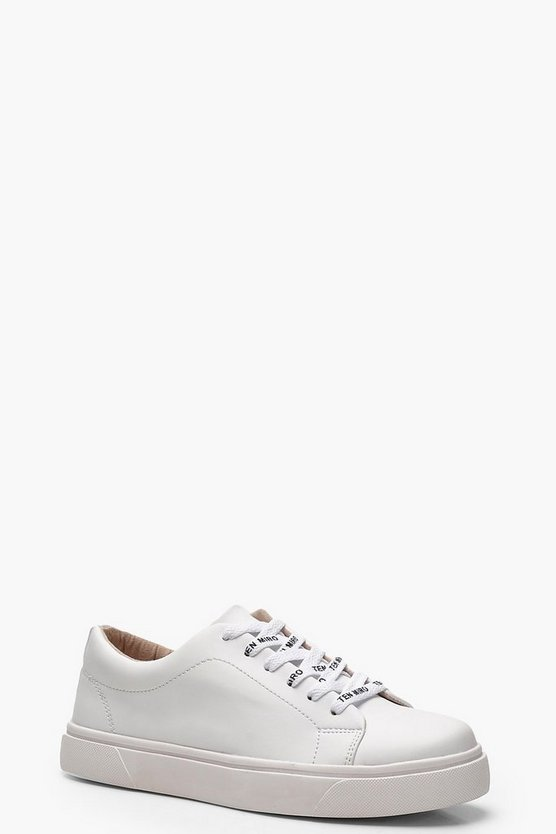 Womens White Slogan Lace Trainers