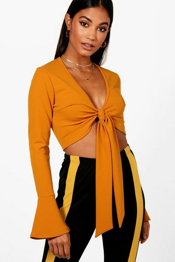Tie Front Frill Sleeve Crop