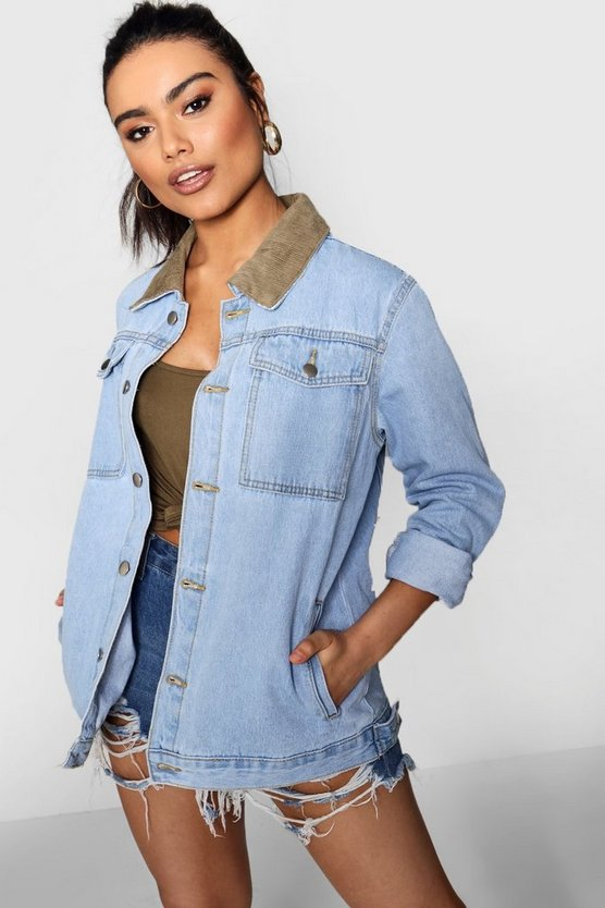 Super Oversize Cord Collar Denim Jacket