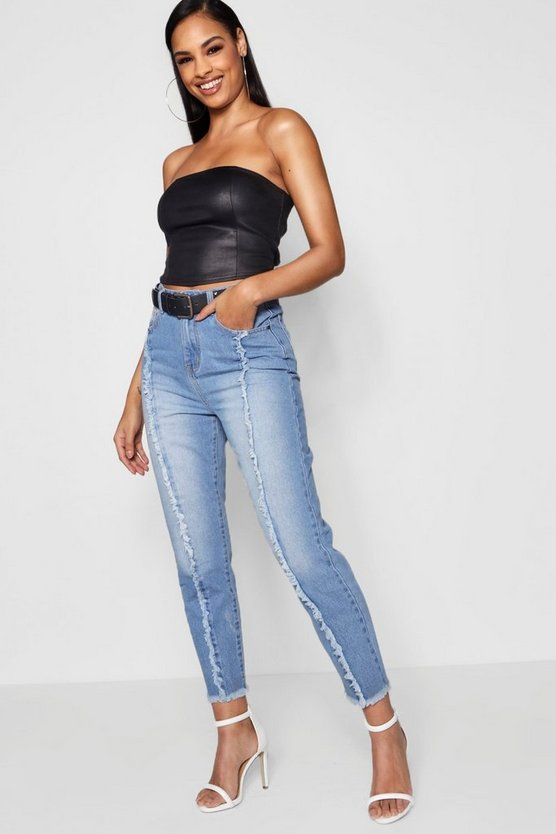 Frayed Seam Straight Leg Jeans