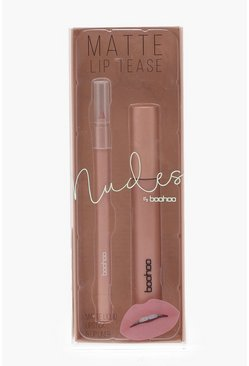 Womens Nude Boohoo Matte Lip Cream Kit And Liner