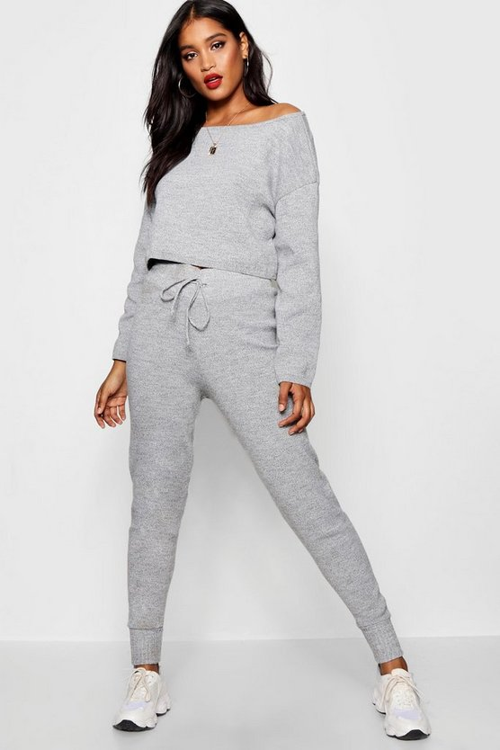 Womens Grey Premium Knitted Slash Neck Lounge Set