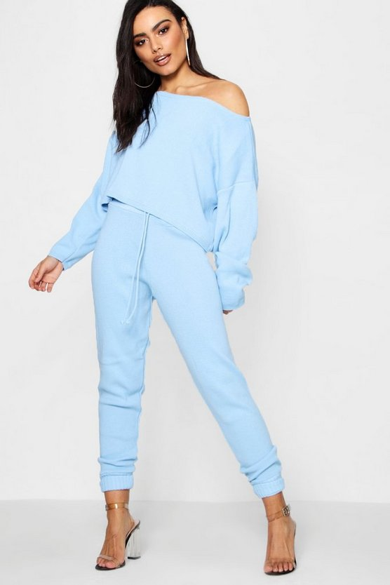 Womens Pastel blue Premium Knitted Slash Neck Lounge Set