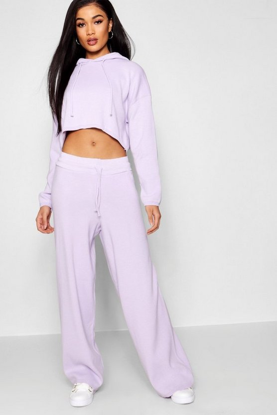 Heavy Knitted Cropped Hooded Wide Leg Set