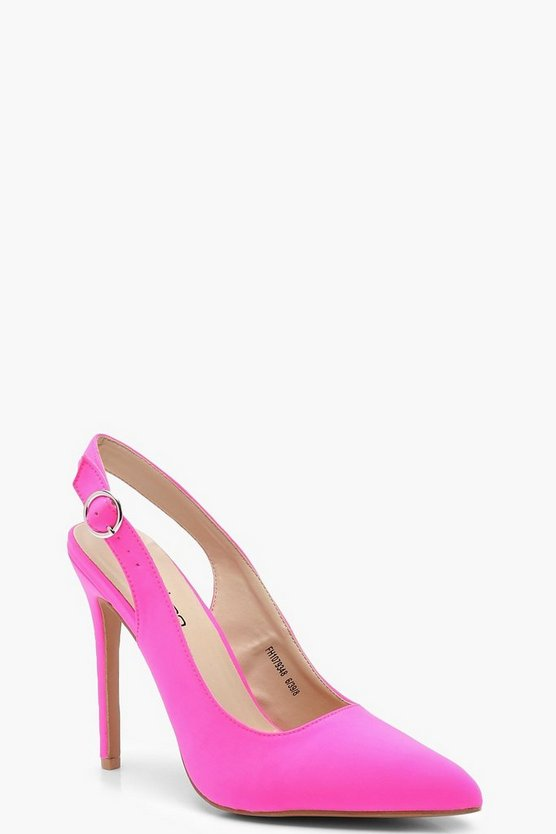 Sling Back Pointed Court Shoes