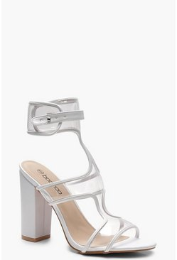 Womens White Clear Strap Sandals