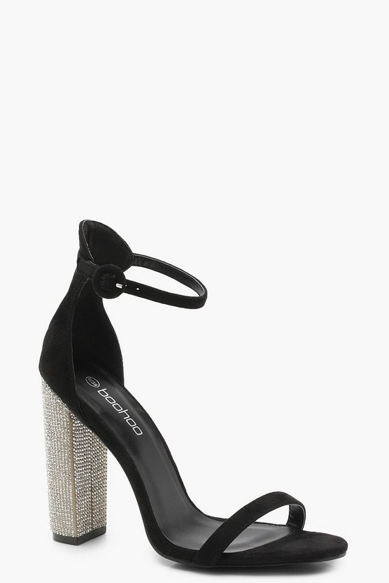 Womens Black Diamante Heels