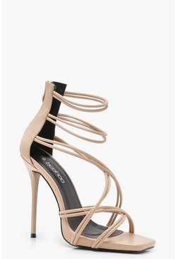 Womens Nude Strappy Cage Sandals