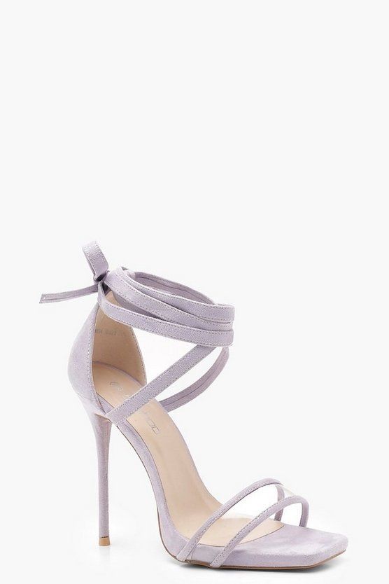 Womens Lilac Clear Strap Wrap Detail Heels