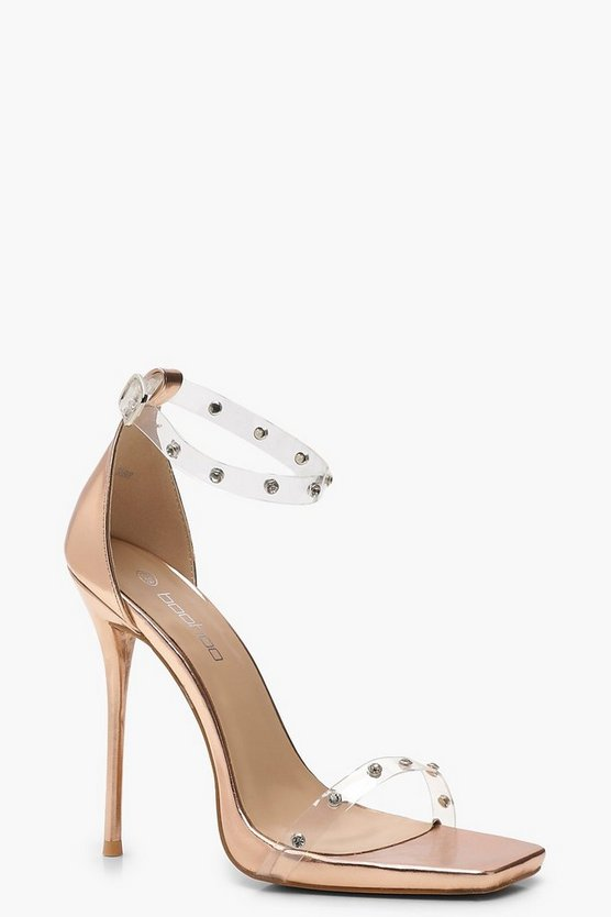 Womens Rose gold Embellished Clear Strap 2 Part Heels