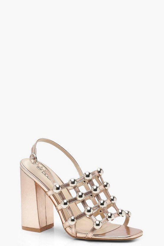 Cage Studded Block Heels