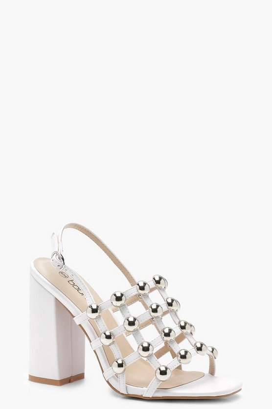 Womens White Cage Studded Block Heels