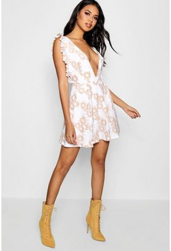 Womens Embroidery Frill Plunge Skater Dress