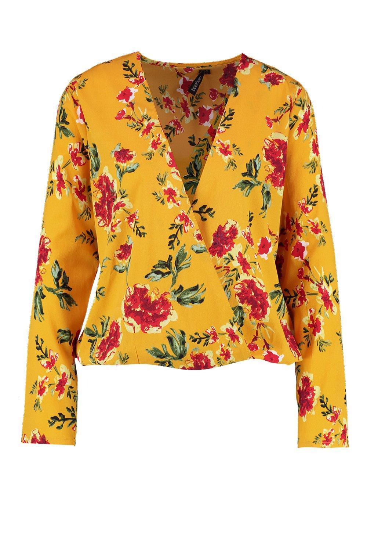 escote amarillo pronunciado cruzada con Blusa floral estampado y amarillo x0OBYnAqw8