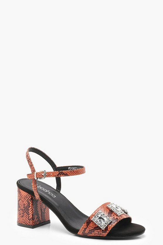 Womens Orange Snake Print Embellished Mid Heels