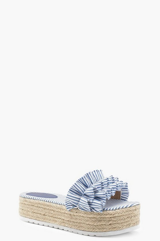 Womens Blue Striped Ruffle Espadrille Flatforms