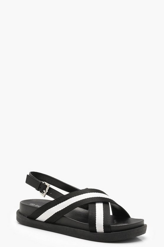 Monochrome Striped Cross Strap Sandals