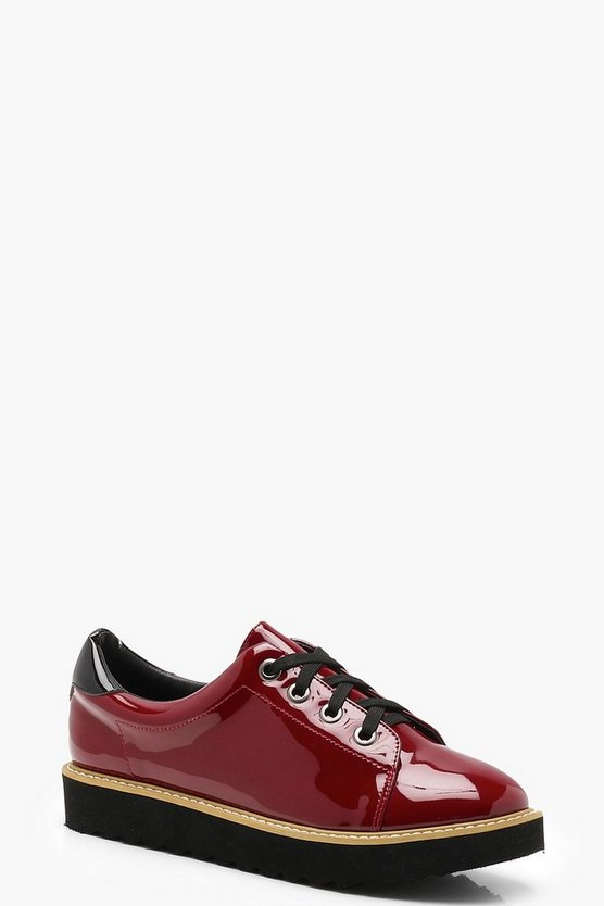 Womens Burgundy Lace Up Cleated Brogues