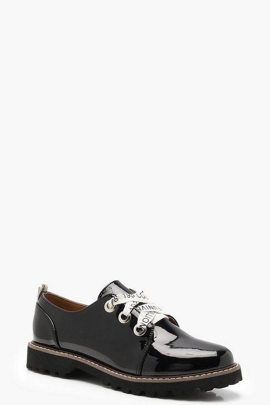 Slogan Lace Cleated Brogues