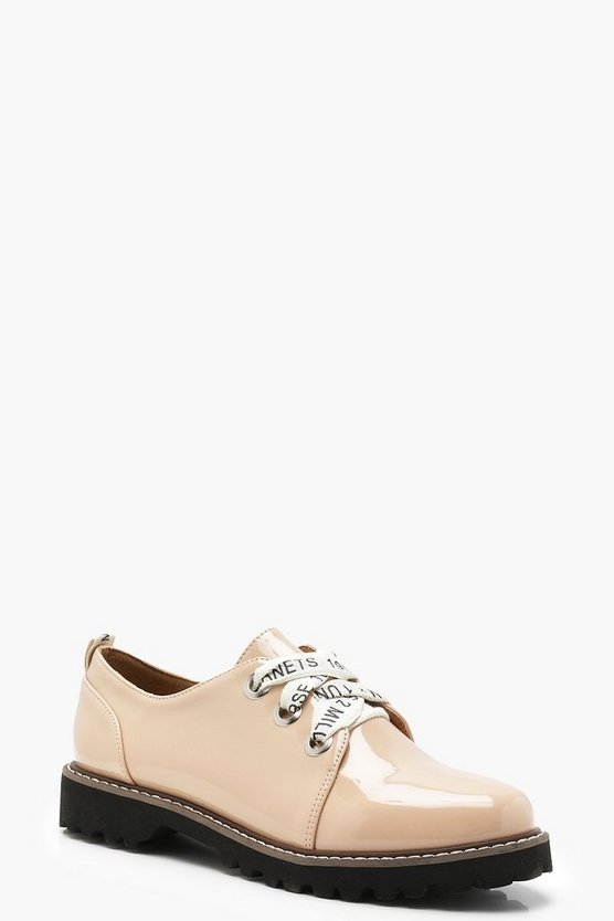 Womens Nude Slogan Lace Cleated Brogues