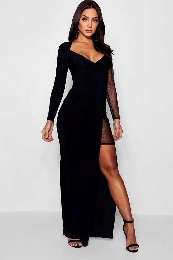 Dot Mesh Contrast Split Maxi Dress