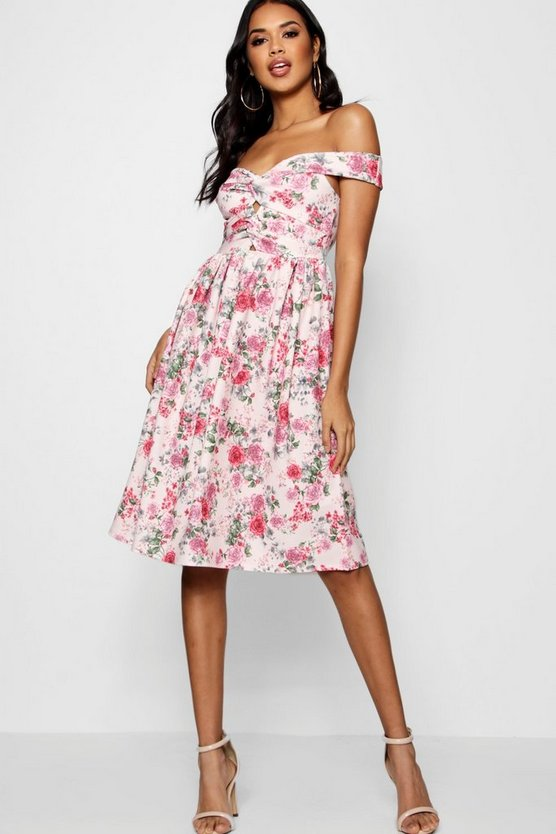 Womens Pink Floral Bardot Knot Midi Skater Dress