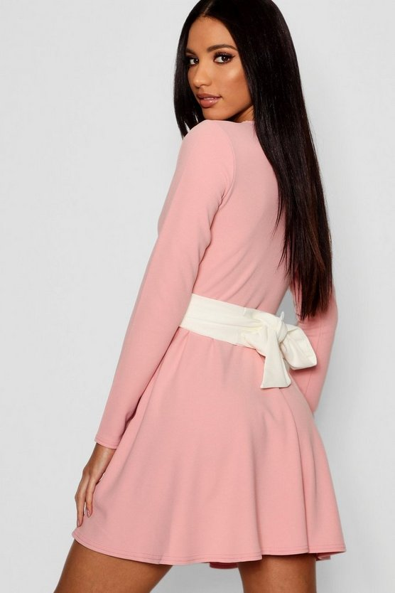 Womens Pink Long Sleeve Contrast Belt Skater Dress