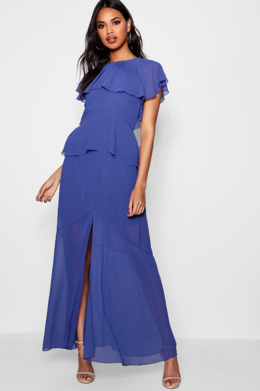 Boohoo Womens Cape Chiffon Tierred Maxi Dress | eBay