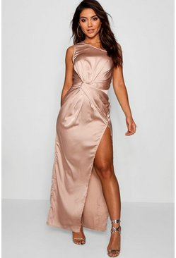 Womens Champagne Satin Twist Detail Maxi Dress