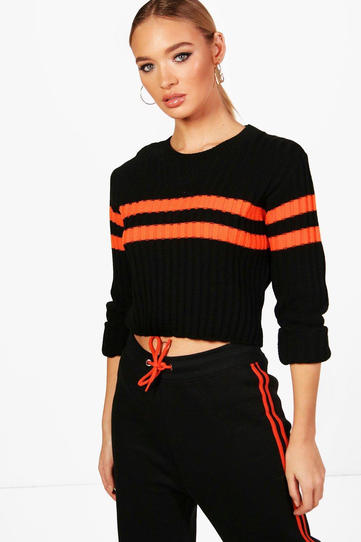 Sports Stripe Rib Knit Jumper