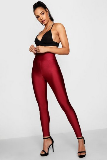 Womens Burgundy High Waist Disco Pants