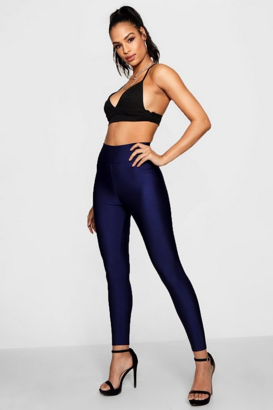 Womens Navy High Waist Disco Pants
