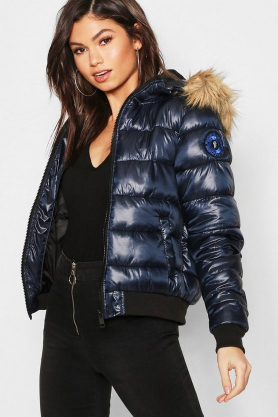 Faux Fur Hood Bubble Coat