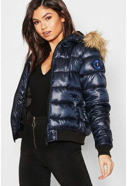 Womens Navy Faux Fur Hood Bubble Coat