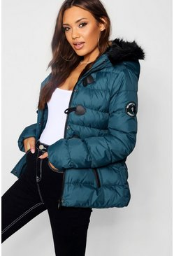 Womens Teal Short Quilted Bubble Jacket