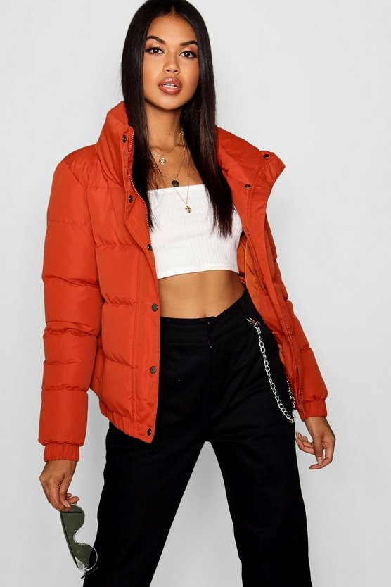 Crop Funnel Neck Padded Jacket