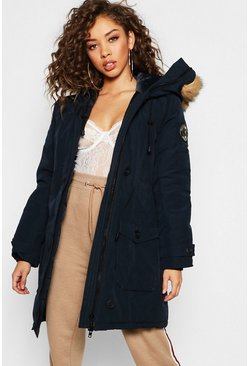Womens Navy Arctic Padded Jacket with Faux Fur Trim