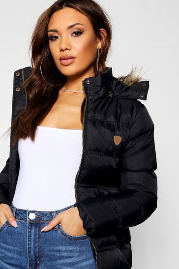 Womens Black Short Quilted Jacket