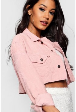 Cord Crop Denim Jacket, Pink, Donna