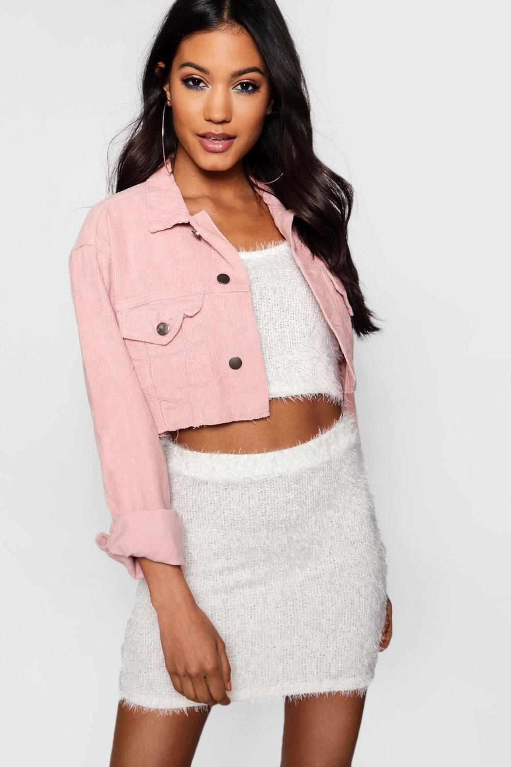 Cord Jacket Cord Denim Crop Cord Jacket Denim pink Crop Denim Crop pink Jacket wXZqPSf