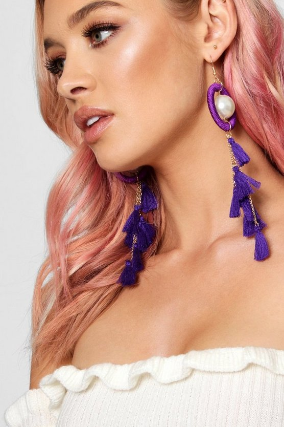 Statement Circle & Tassel Pearl Earrings