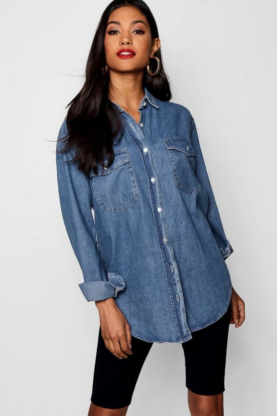 Womens Light blue Oversize Denim Shirt