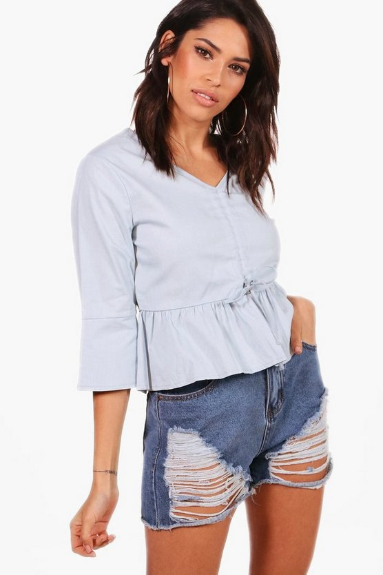 Tie Front Ruffle Hem Cropped Chambray Top
