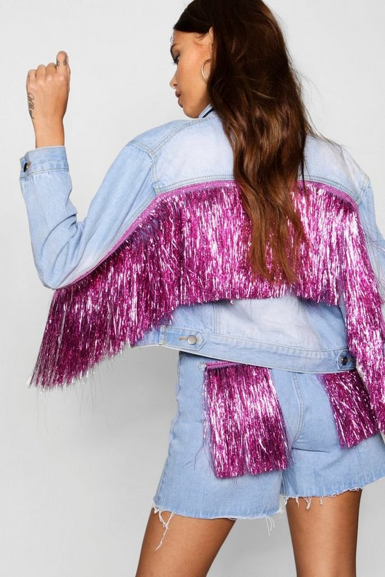 Tinsel Tassel Oversize Denim Jacket