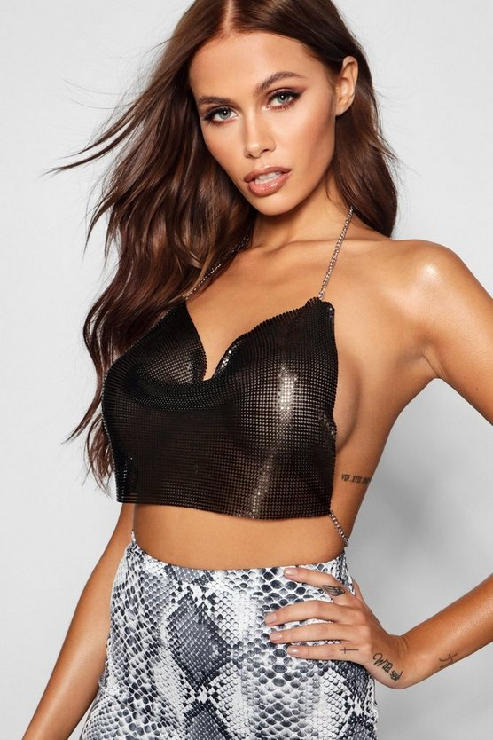 Womens Black Chainmail Crop Top Body Chain