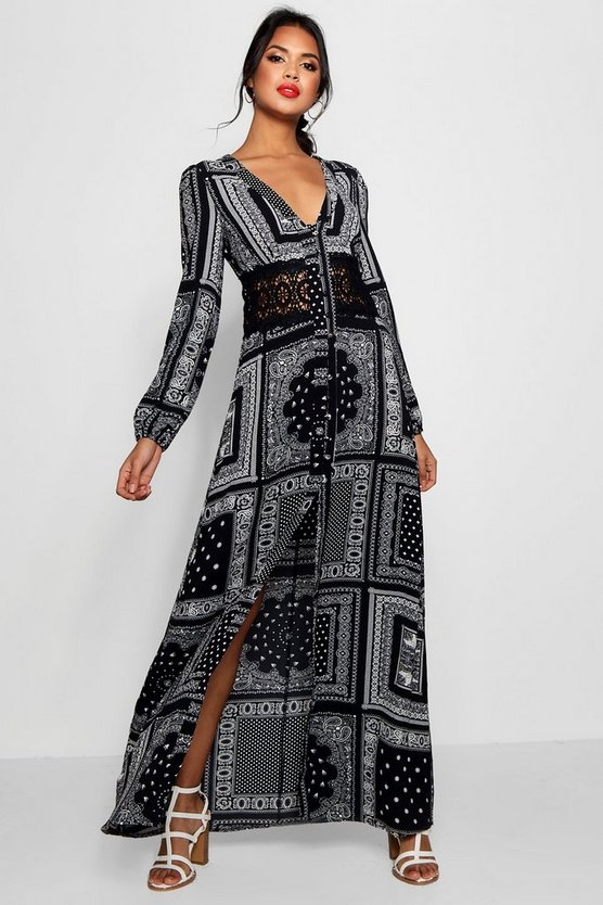 Iyan Crochet Insert Button Scarf Print Maxi Dress