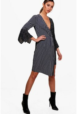 Womens Black Mixed Print Wrap Front Midi Dress