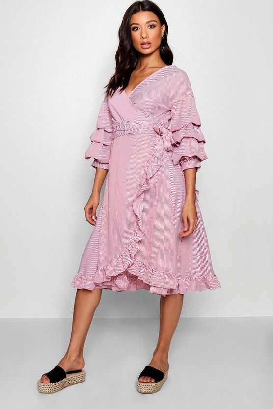 Rouched Sleeve Ruffle Wrap Midi Dress