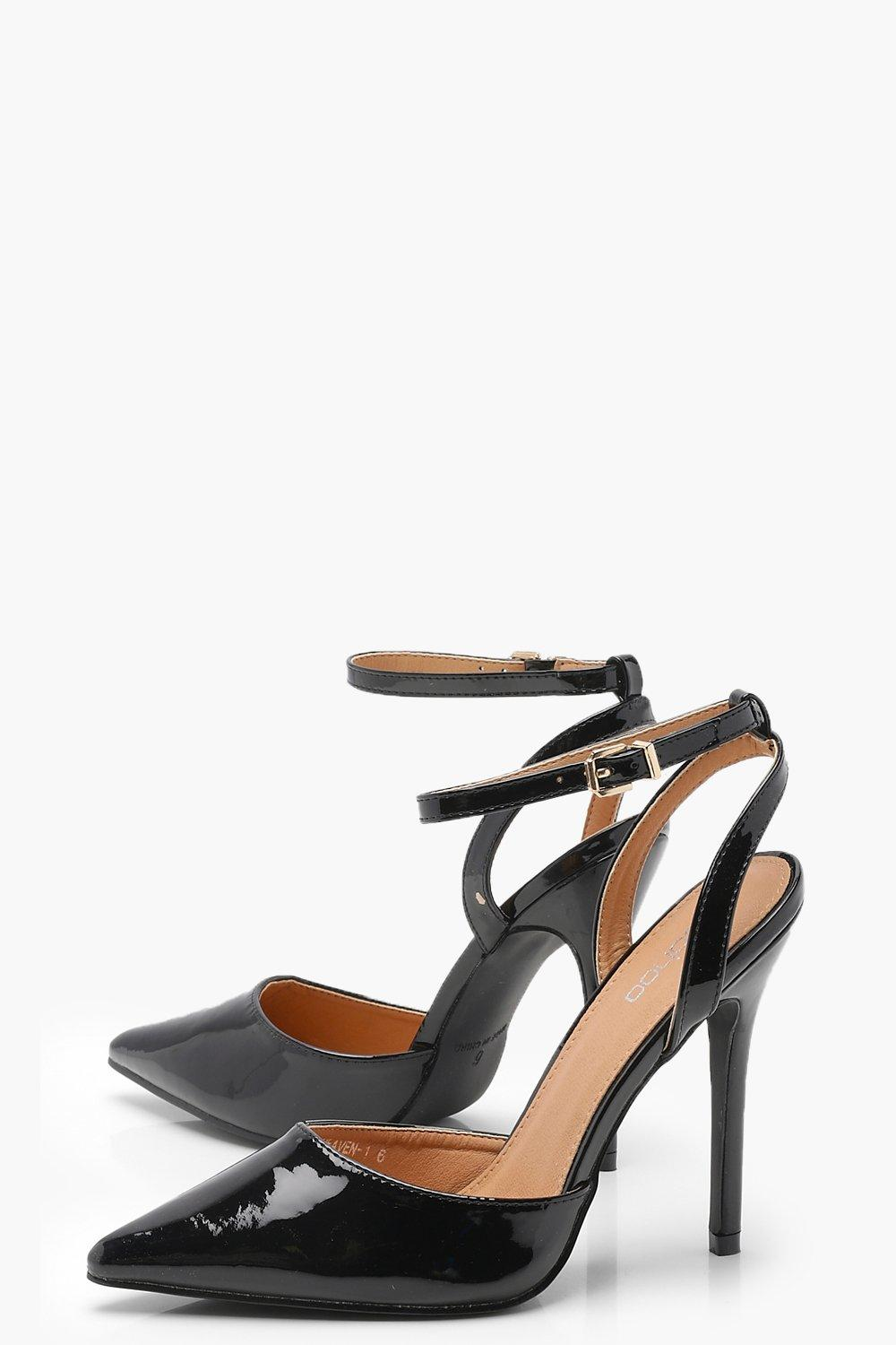 NEW-Boohoo-Womens-Pointed-Patent-Sling-Back-Heels-in