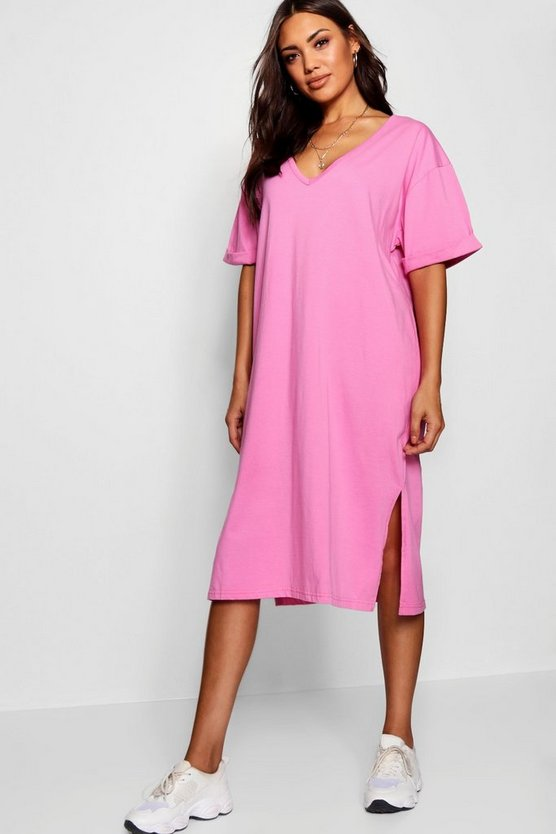 Womens Oversized Midi T Shirt Dress